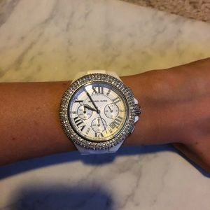 Michael Kors White Ceramic Rhinestone Watch